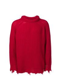 Мужской красный вязаный свитер от R13