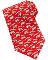 Красный галстук с принтом