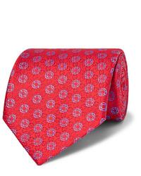 Мужской красный галстук с принтом от Charvet