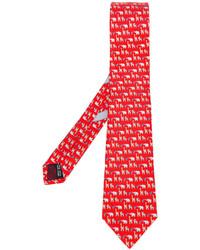 Мужской красный галстук с принтом от Salvatore Ferragamo