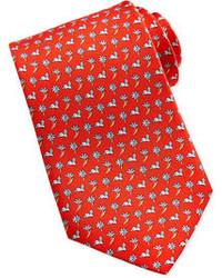 Красный галстук с цветочным принтом
