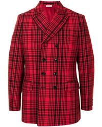 Мужской красный двубортный пиджак в шотландскую клетку от Comme Des Garcons Homme Plus