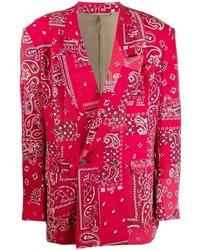 Мужской красный двубортный пиджак с принтом от Readymade