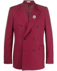 Мужской красный двубортный пиджак от Alexander McQueen
