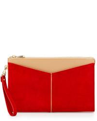 Красный замшевый клатч