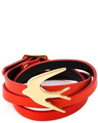 Красный кожаный браслет от McQ by Alexander McQueen