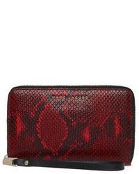 Красный кожаный клатч со змеиным рисунком
