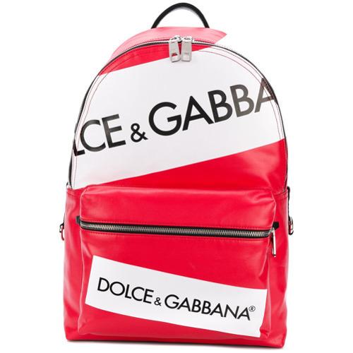 Мужской красный кожаный рюкзак с принтом от Dolce & Gabbana