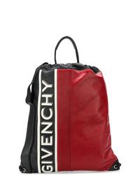 Мужской красный кожаный рюкзак с принтом от Givenchy
