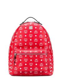 Мужской красный кожаный рюкзак с принтом от MCM