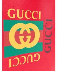 Мужской красный кожаный рюкзак с принтом от Gucci