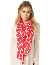 Женский красный легкий шарф от Kate Spade