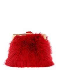Красный меховой клатч