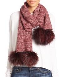 Женский красный меховой шарф от Portolano