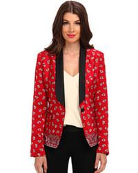 Красный пиджак с принтом