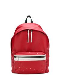 Красный рюкзак с принтом