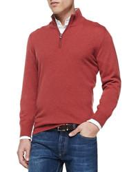 Красный свитер с воротником на молнии