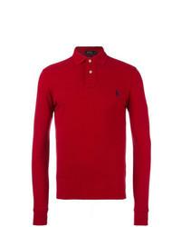Красный свитер с воротником поло