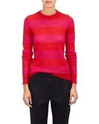 Красный свитер с круглым вырезом в горизонтальную полоску