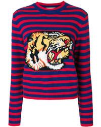Женский красный свитер с круглым вырезом в горизонтальную полоску от Gucci