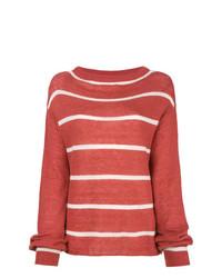 Женский красный свитер с круглым вырезом в горизонтальную полоску от MiH Jeans