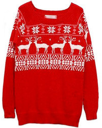 Красный свитер с круглым вырезом с жаккардовым узором