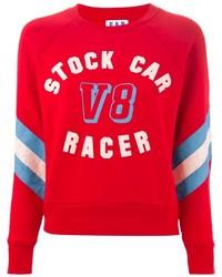 Красный свитер с круглым вырезом с принтом