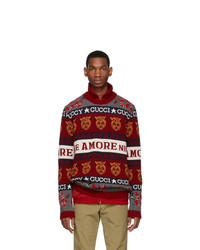Мужской красный свитер с круглым вырезом с принтом от Gucci
