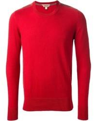 Красный свитер с круглым вырезом