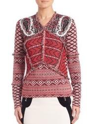 Красный свитер с v-образным вырезом с принтом