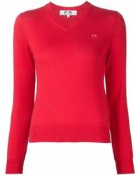 Красный свитер с v-образным вырезом