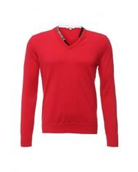 Мужской красный свитер с v-образным вырезом от Bikkembergs