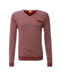 Мужской красный свитер с v-образным вырезом от Boss Orange