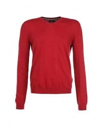 Мужской красный свитер с v-образным вырезом от Celio