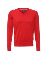 Мужской красный свитер с v-образным вырезом от Gant