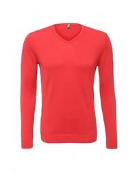 Мужской красный свитер с v-образным вырезом от United Colors of Benetton