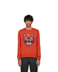 Мужской красный свитшот с вышивкой от Kenzo