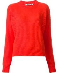Красный свободный свитер