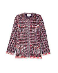 Женский красный твидовый жакет с украшением от Gucci