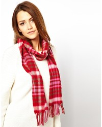 Женский красный хлопковый шарф в шотландскую клетку от Johnstons