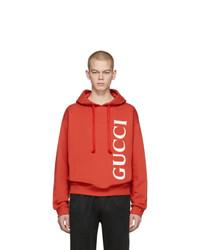 Мужской красный худи с принтом от Gucci
