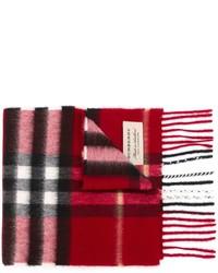 Детский красный шарф в клетку для мальчику от Burberry