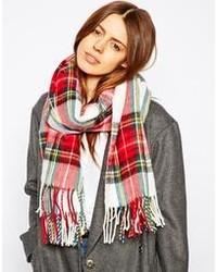 Женский красный шарф в шотландскую клетку от Asos