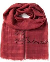 Женский красный шарф в шотландскую клетку от Chanel