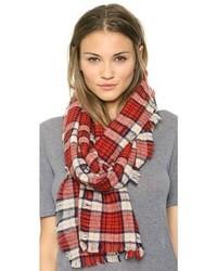Женский красный шарф в шотландскую клетку от Madewell