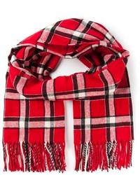Женский красный шарф в шотландскую клетку от Marc by Marc Jacobs