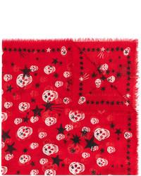 Женский красный шарф со звездами от Alexander McQueen