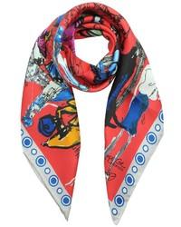 Красный шарф с принтом