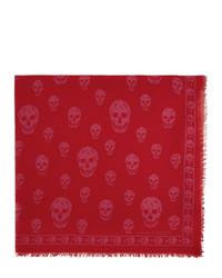 Мужской красный шарф с принтом от Alexander McQueen