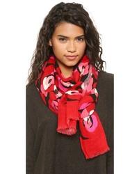 Женский красный шарф с цветочным принтом от Kate Spade